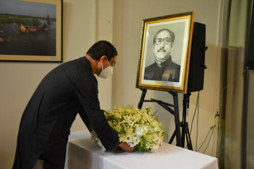 Placing bouquet in remembrance of Bangabandhu