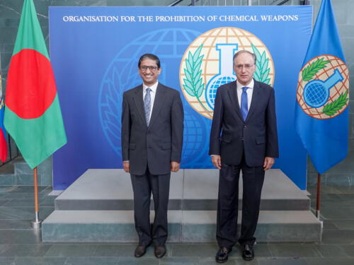 H.E. Mr M. Riaz Hamidullah Ambassador Extraordinary and Plenipotentiary of Bangladesh presents his credentials to the Director-General of the OPCW